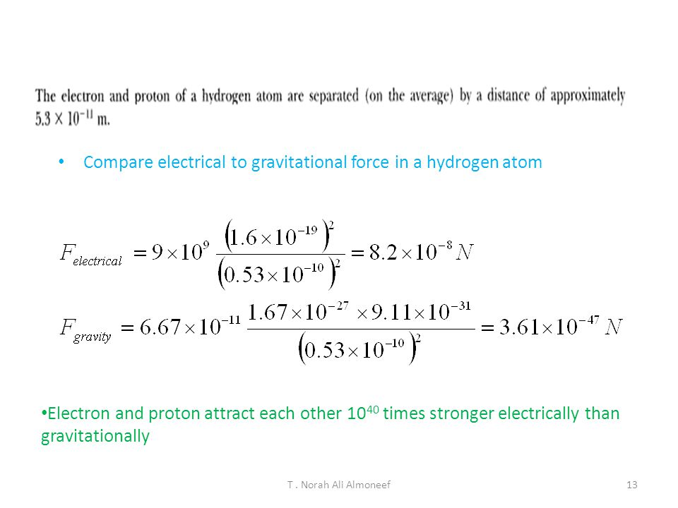 Compare electrical to gravitational force in a hydrogen atom