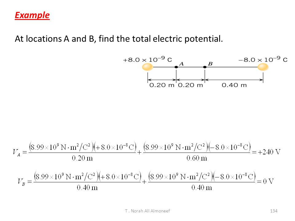 At locations A and B, find the total electric potential.