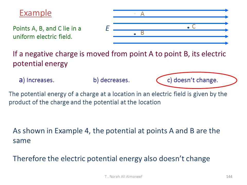 Example E. A. B. C. Points A, B, and C lie in a uniform electric field.