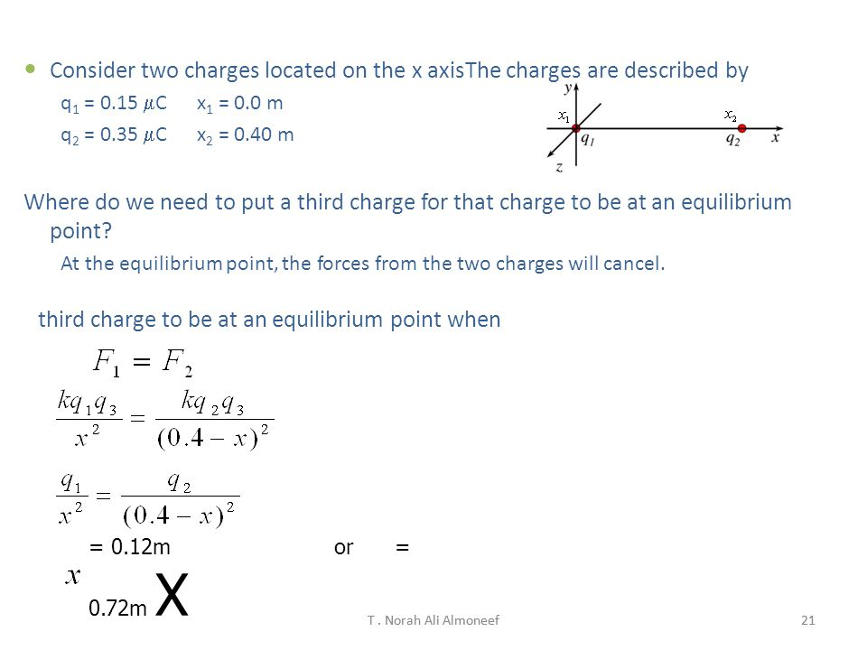 Consider two charges located on the x axisThe charges are described by