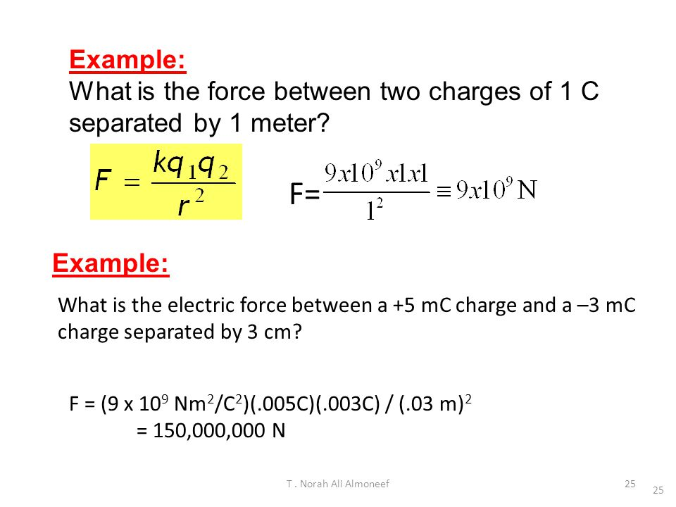 Example: What is the force between two charges of 1 C separated by 1 meter F= Example:
