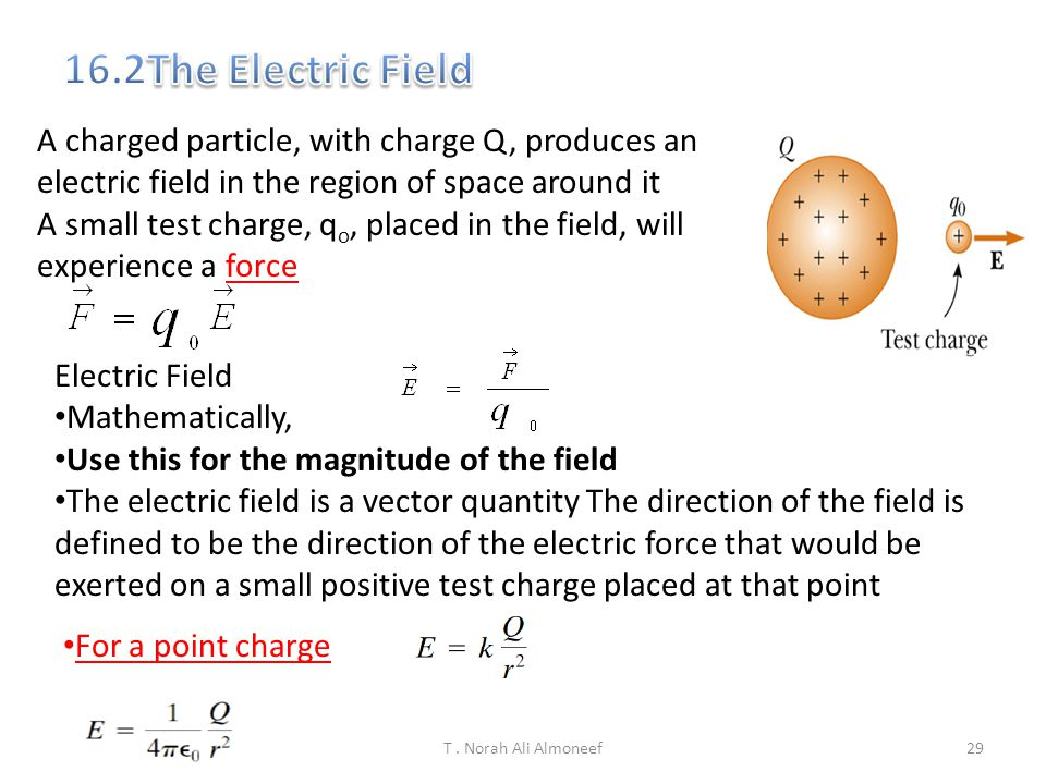 16.2The Electric Field A charged particle, with charge Q, produces an