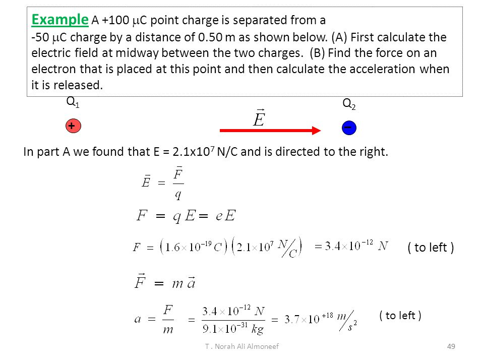 Example A +100 C point charge is separated from a