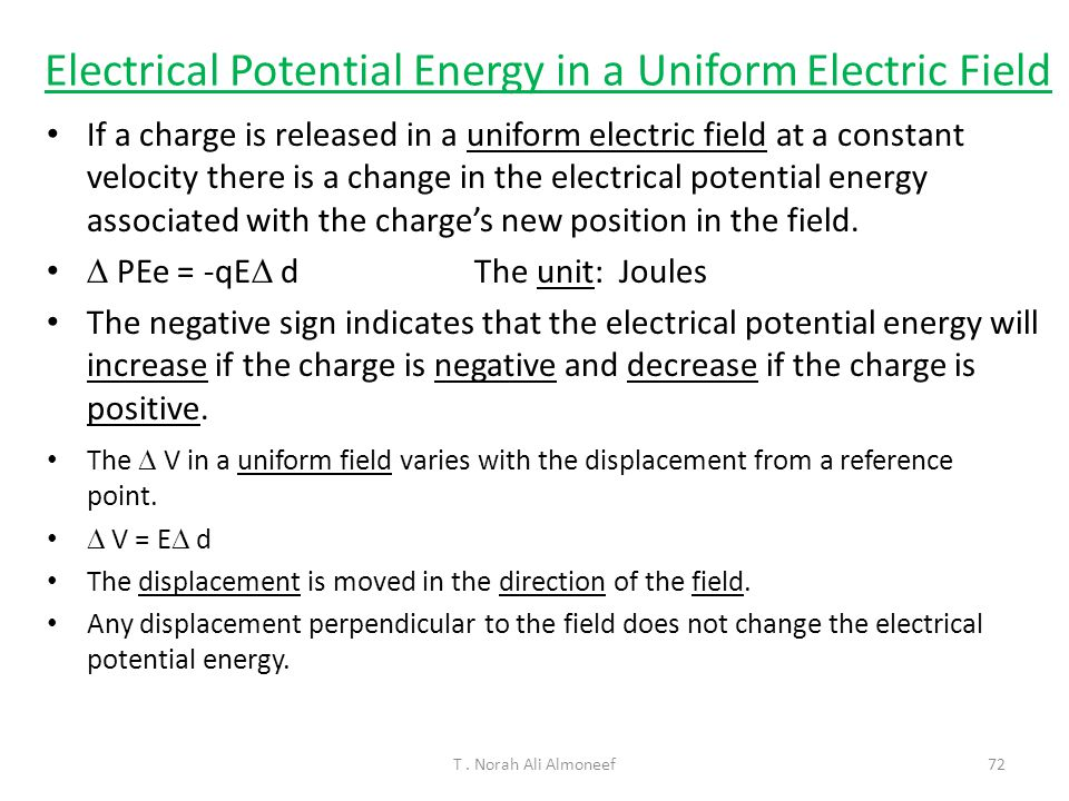 Electrical Potential Energy in a Uniform Electric Field