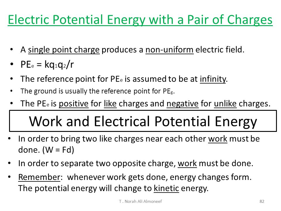 Work and Electrical Potential Energy