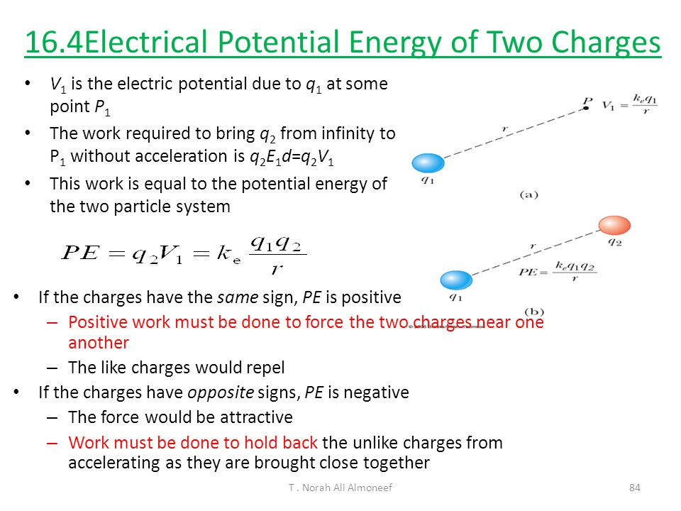 16.4Electrical Potential Energy of Two Charges