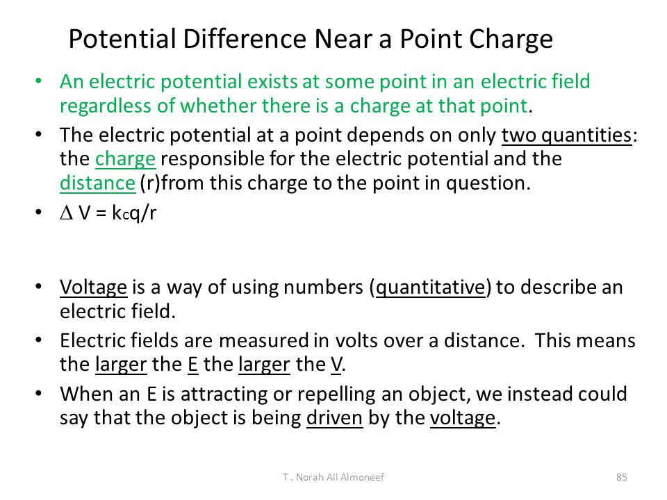 Potential Difference Near a Point Charge