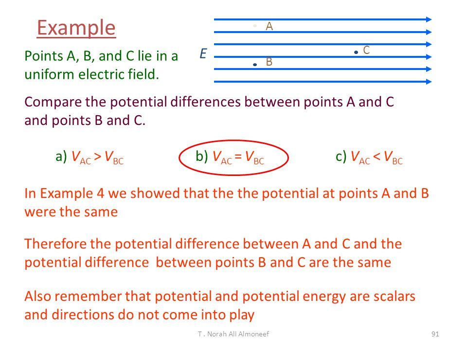 Example E Points A, B, and C lie in a uniform electric field.