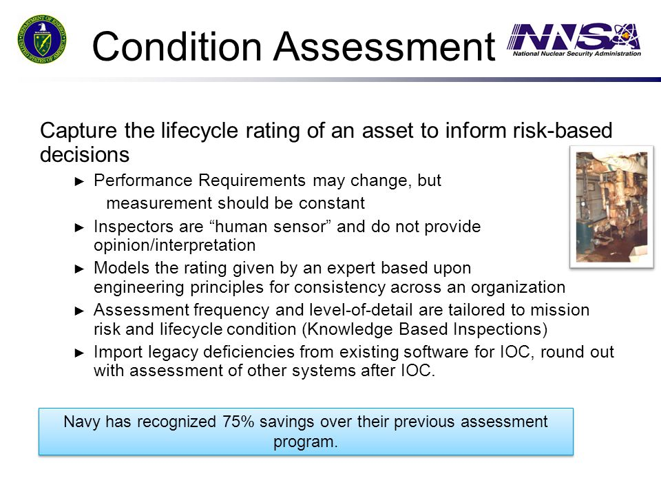 Condition Assessment Capture the lifecycle rating of an asset to inform risk-based decisions. Performance Requirements may change, but.