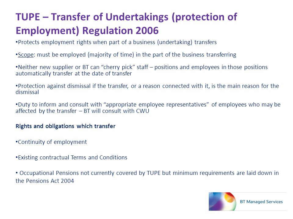 TUPE – Transfer of Undertakings (protection of Employment) Regulation 2006