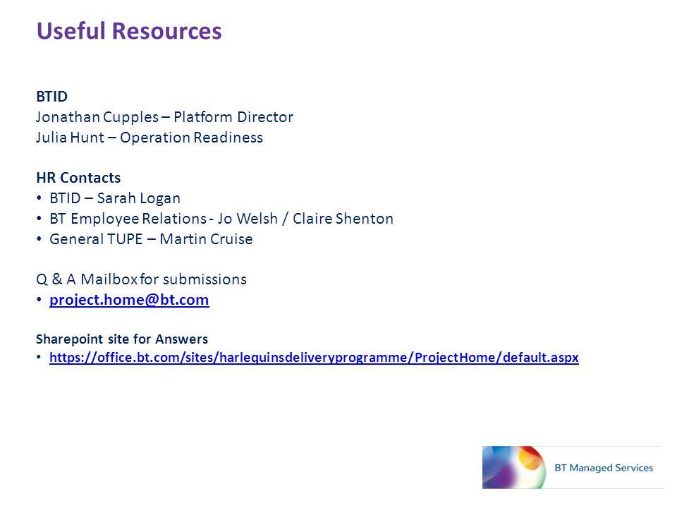 Useful Resources BTID Jonathan Cupples – Platform Director