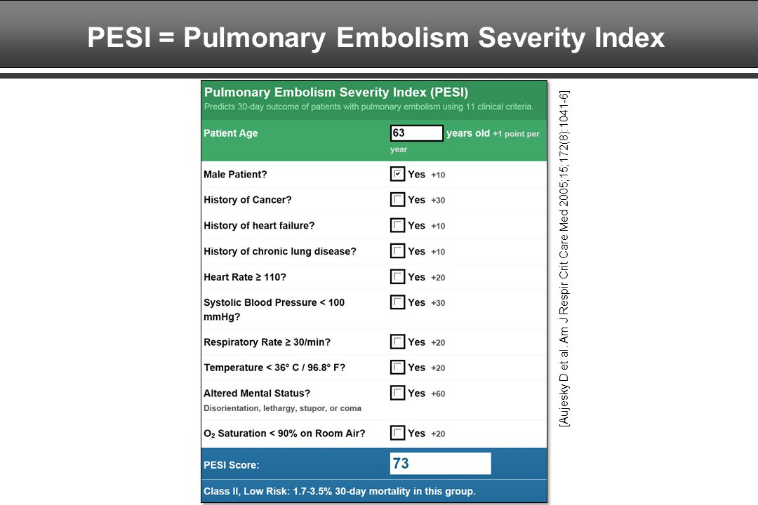 PESI = Pulmonary Embolism Severity Index