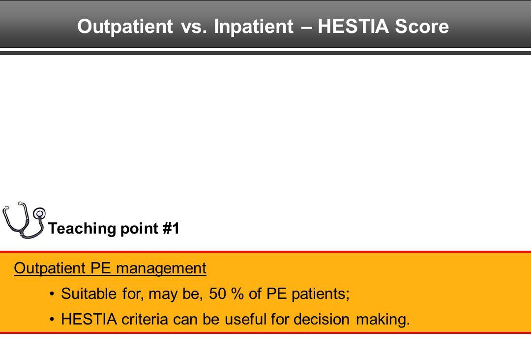 Outpatient vs. Inpatient – HESTIA Score