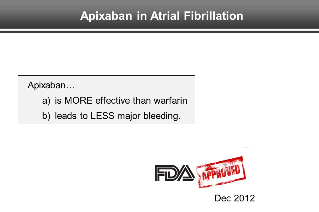 Apixaban in Atrial Fibrillation
