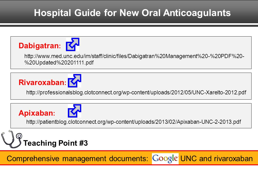 Hospital Guide for New Oral Anticoagulants