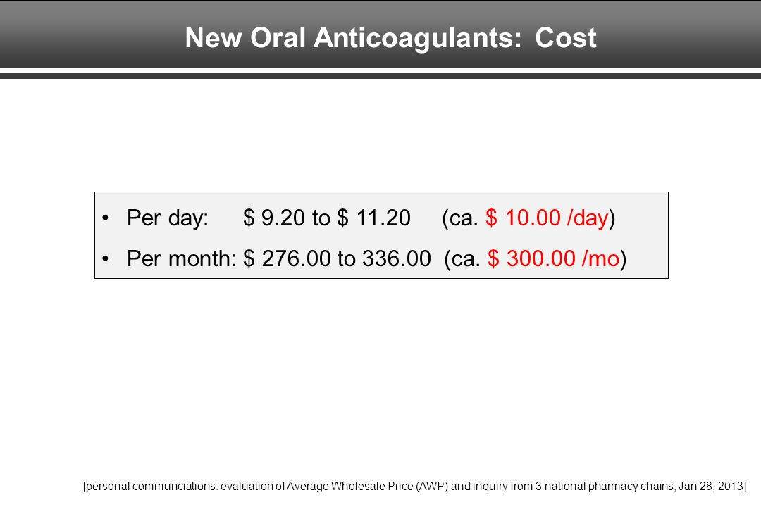 New Oral Anticoagulants: Cost