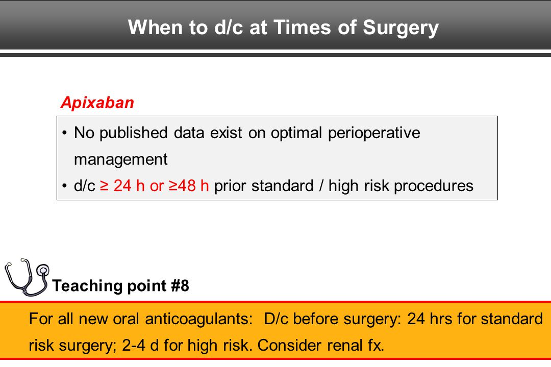When to d/c at Times of Surgery