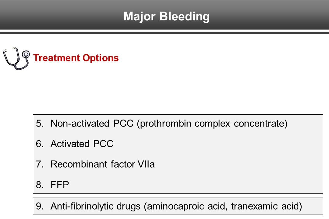 Major Bleeding Treatment Options