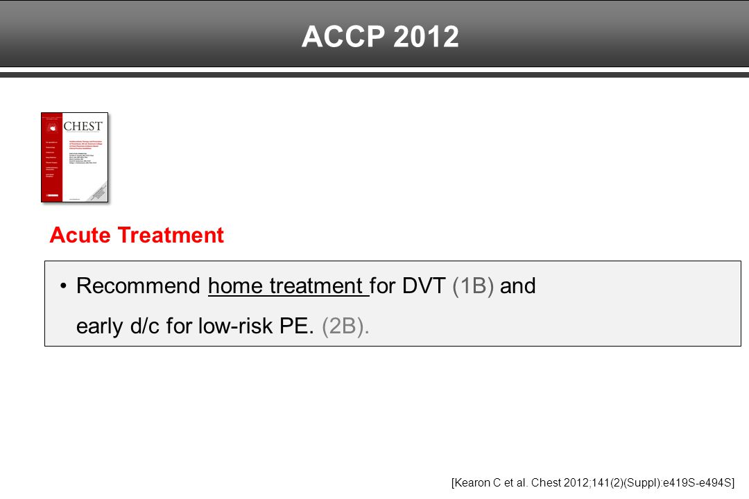ACCP 2012 Recommend home treatment for DVT (1B) and early d/c for low-risk PE. (2B). Acute Treatment.