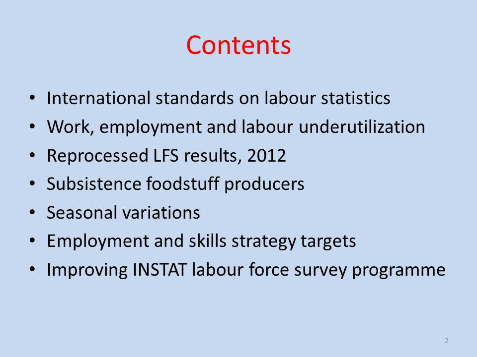 Contents International standards on labour statistics