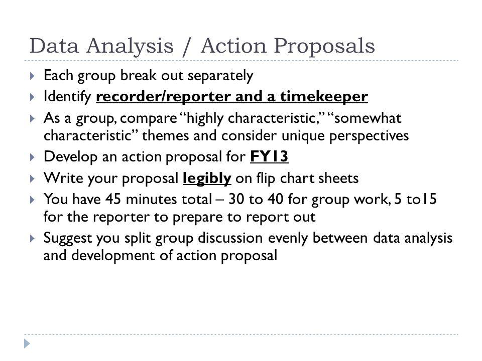 Data Analysis / Action Proposals