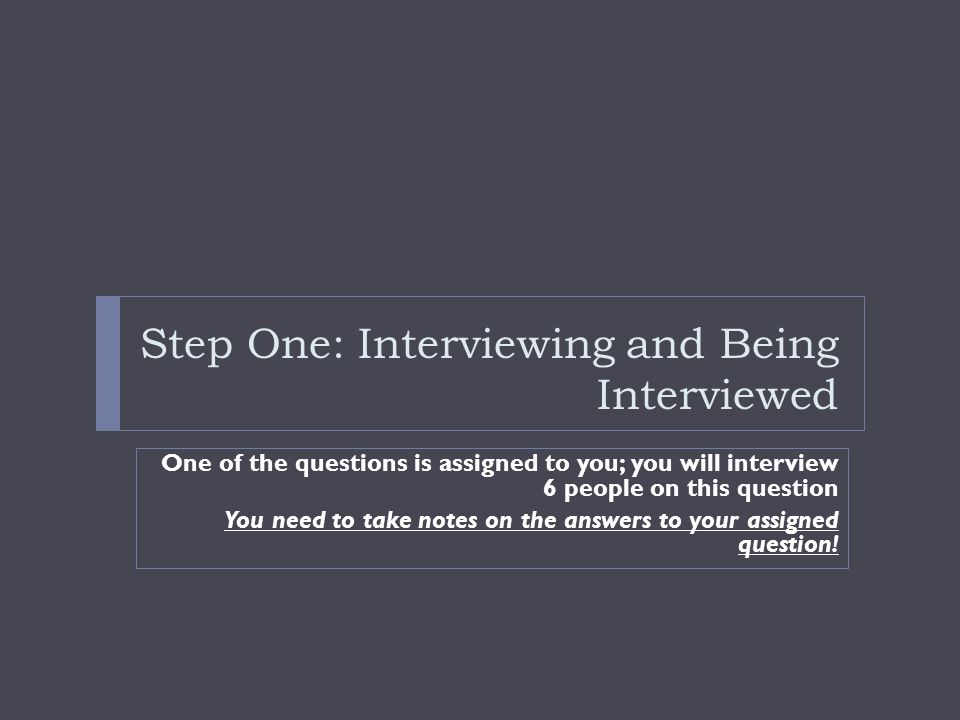 Step One: Interviewing and Being Interviewed
