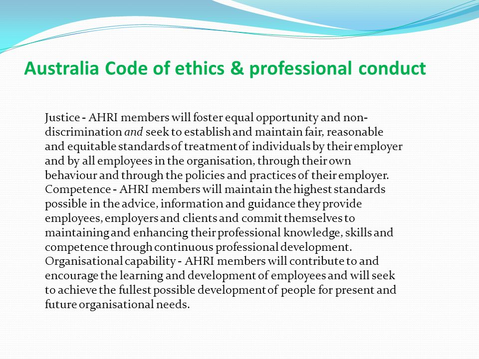 Australia Code of ethics & professional conduct