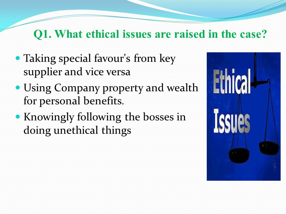 Q1. What ethical issues are raised in the case