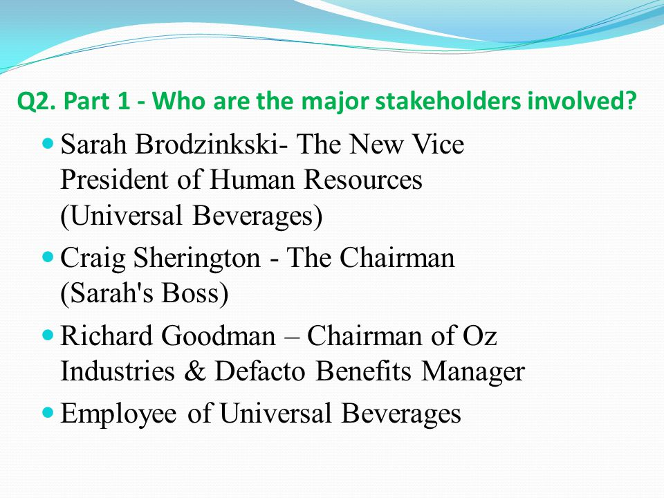 Q2. Part 1 - Who are the major stakeholders involved