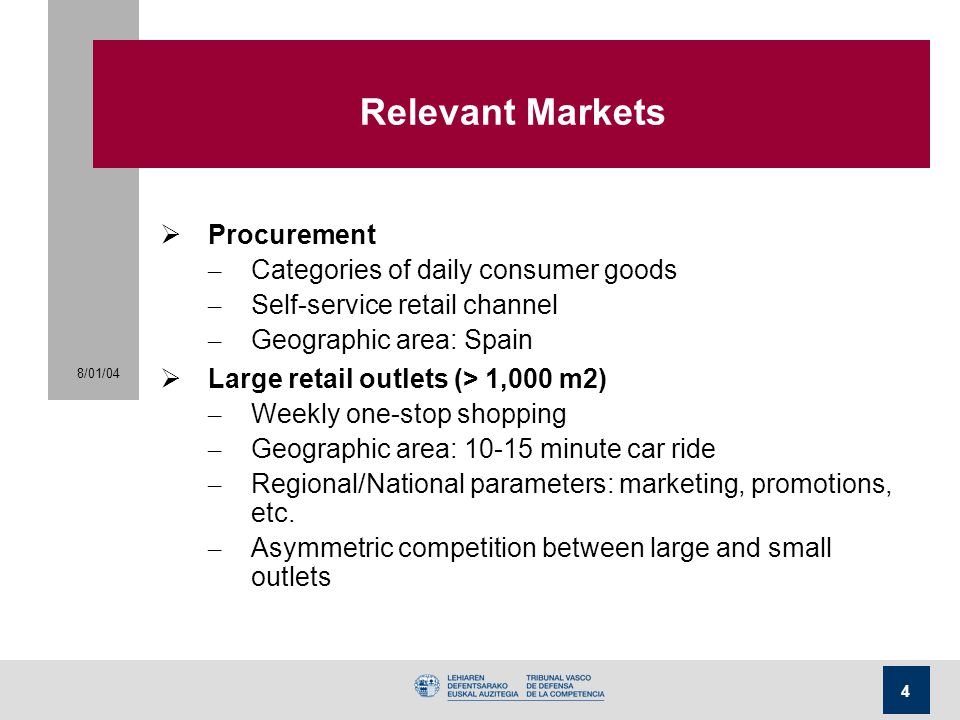 Relevant Markets Procurement Categories of daily consumer goods