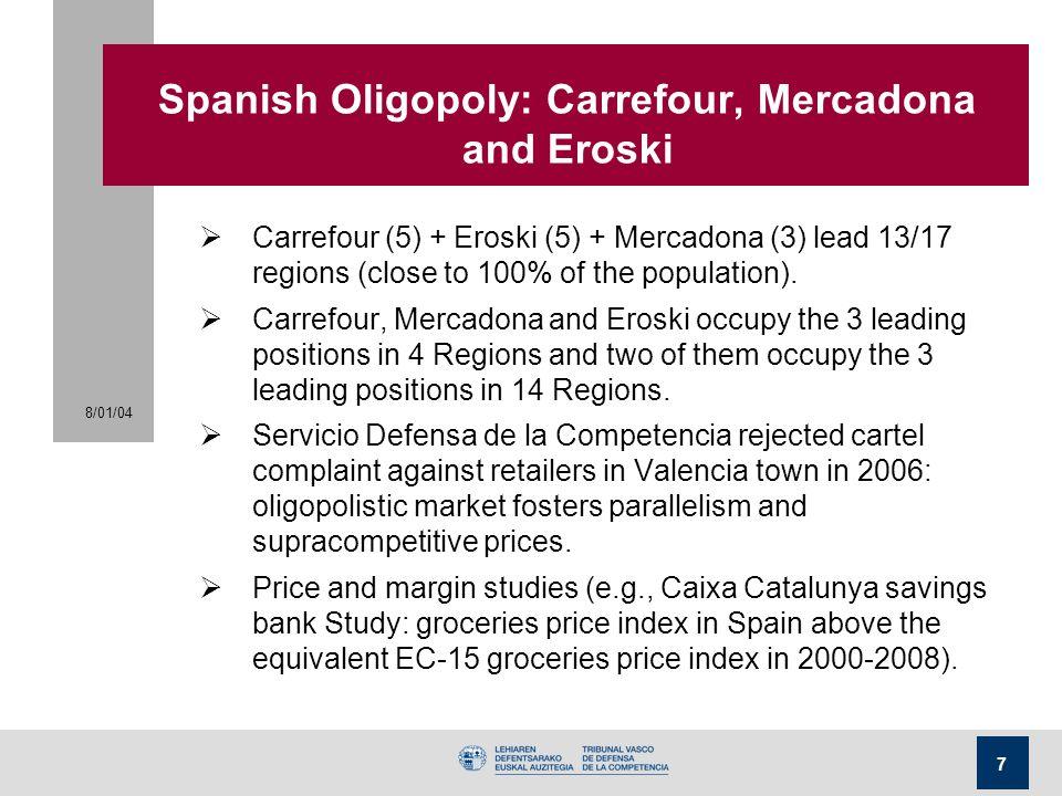 Spanish Oligopoly: Carrefour, Mercadona and Eroski