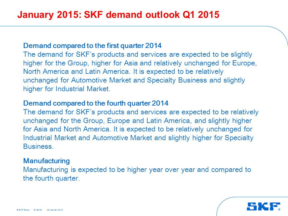 January 2015: SKF demand outlook Q1 2015