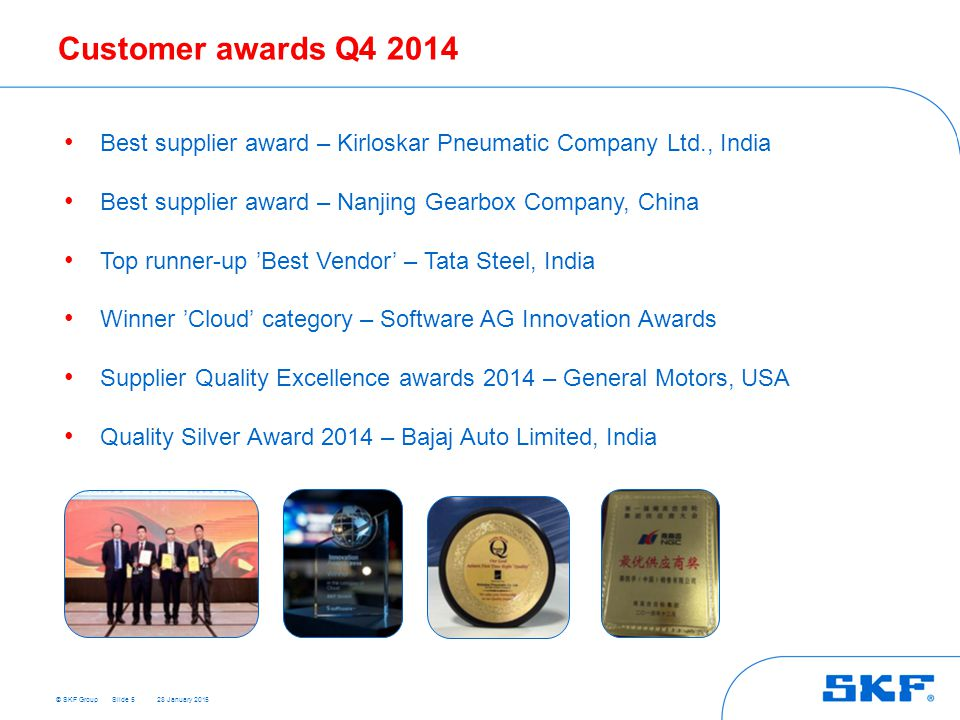 Customer awards Q4 2014 Best supplier award – Kirloskar Pneumatic Company Ltd., India. Best supplier award – Nanjing Gearbox Company, China.