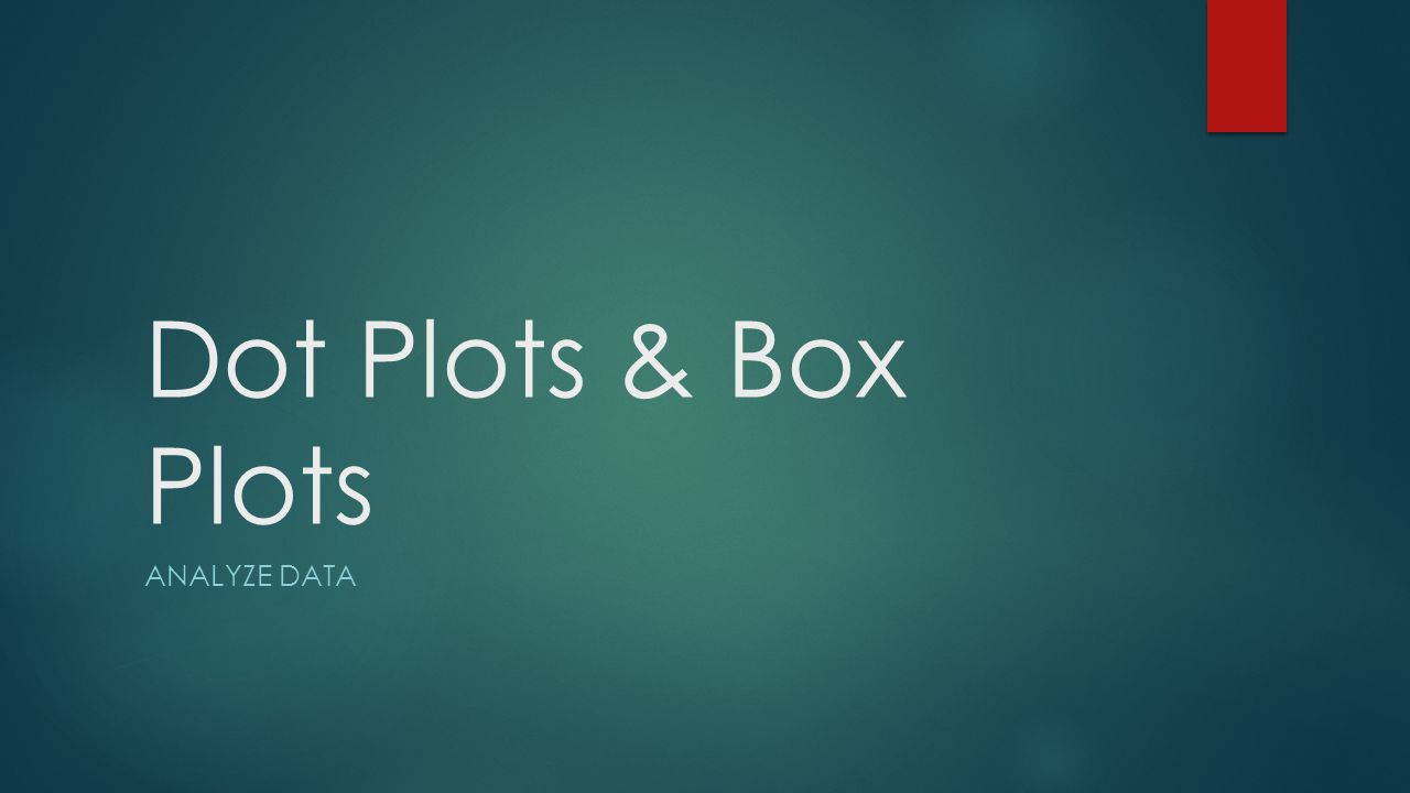 Dot Plots & Box Plots Analyze Data