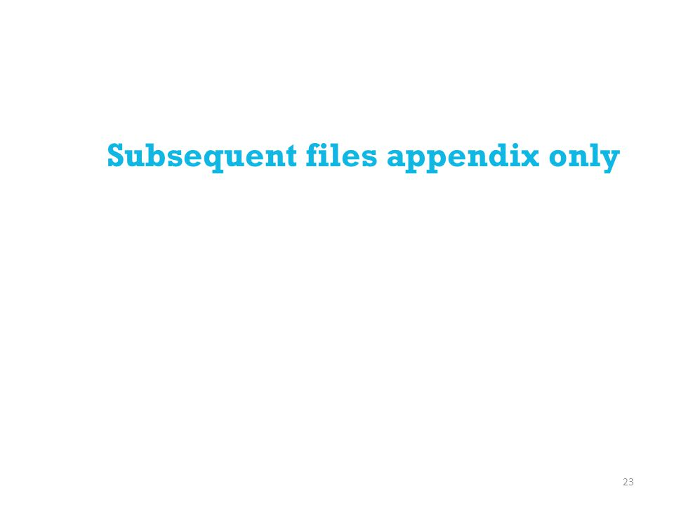 Subsequent files appendix only