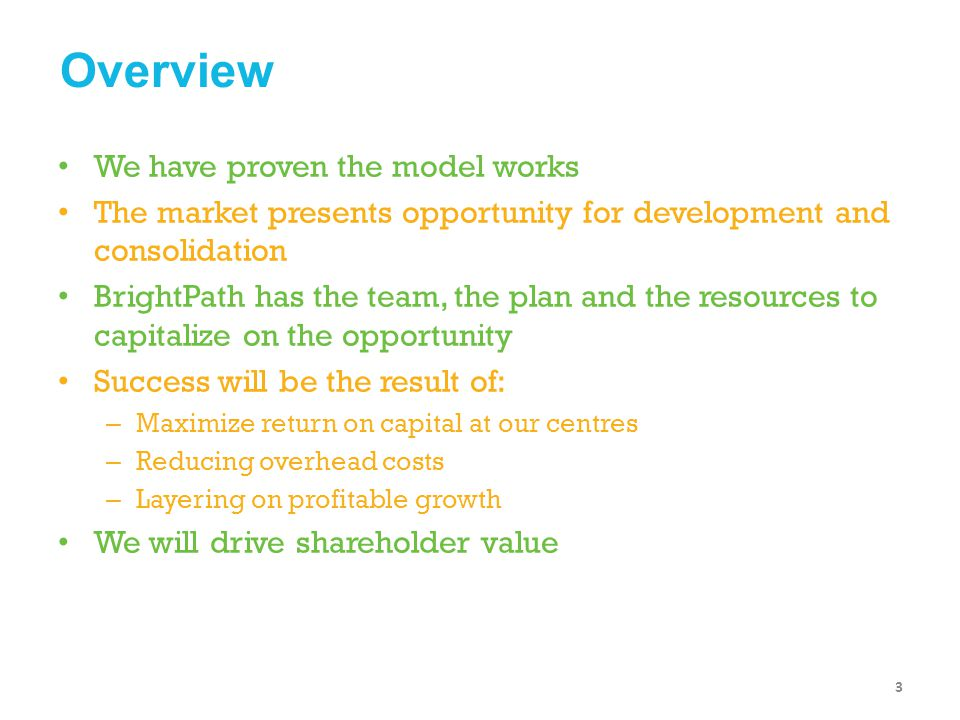 Overview We have proven the model works