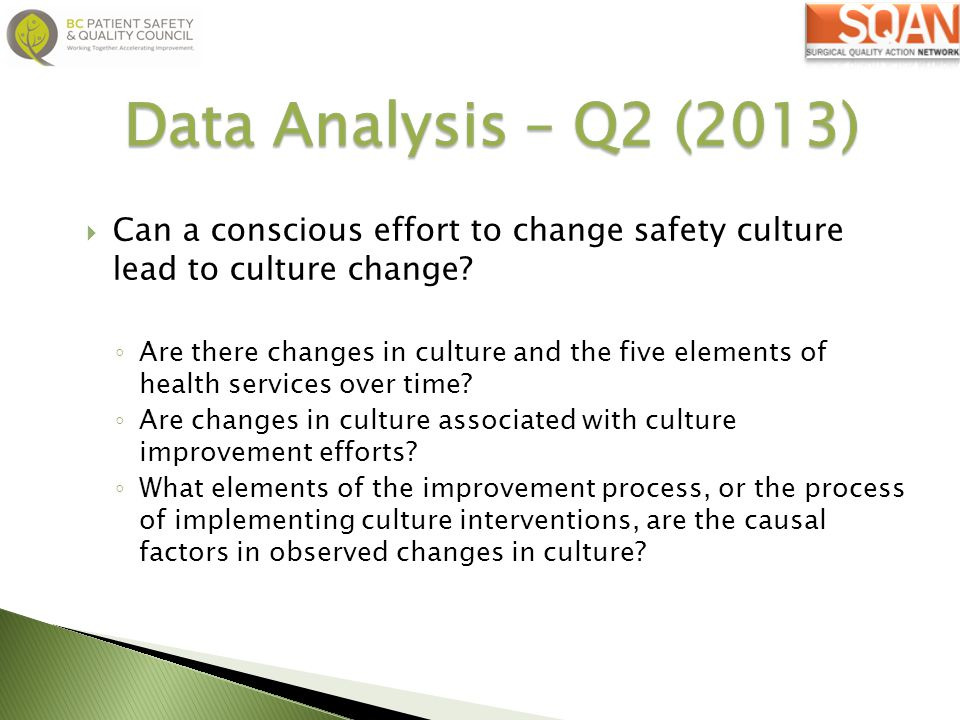 Data Analysis – Q2 (2013) Can a conscious effort to change safety culture lead to culture change