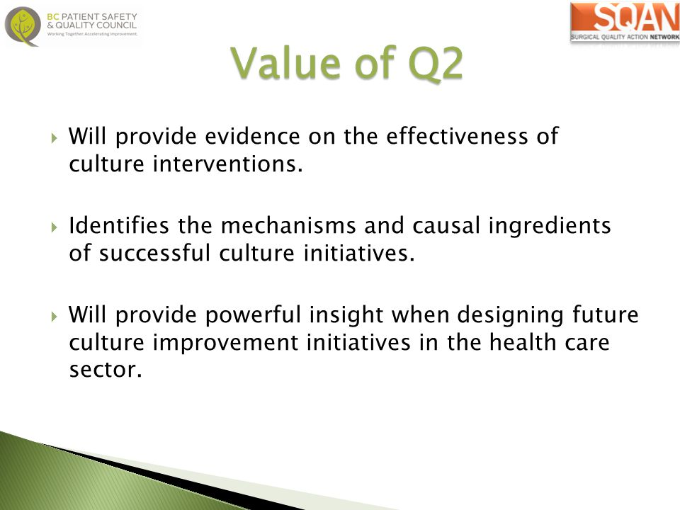 Value of Q2 Will provide evidence on the effectiveness of culture interventions.