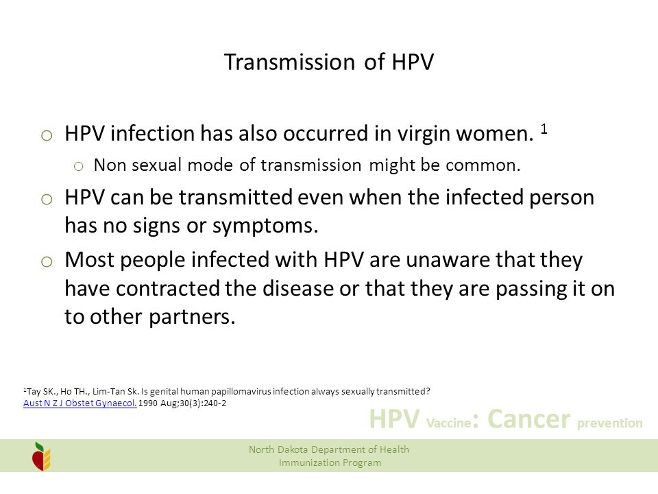 Transmission of HPV HPV infection has also occurred in virgin women. 1
