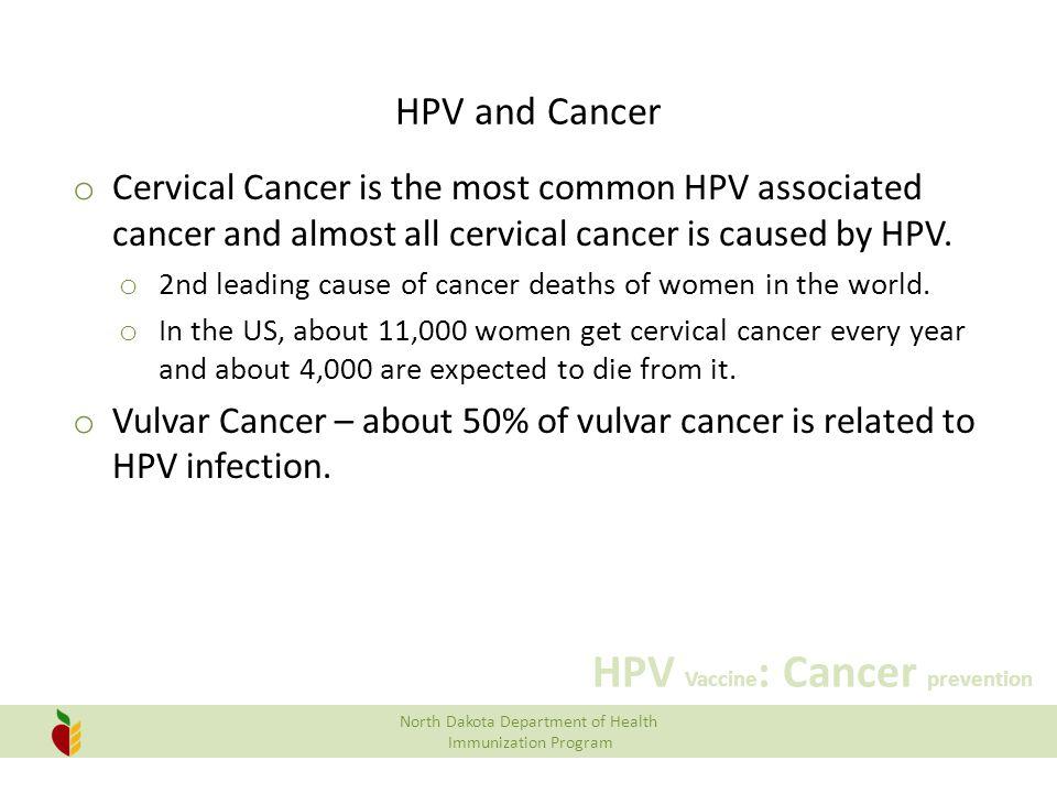 HPV and Cancer Cervical Cancer is the most common HPV associated cancer and almost all cervical cancer is caused by HPV.