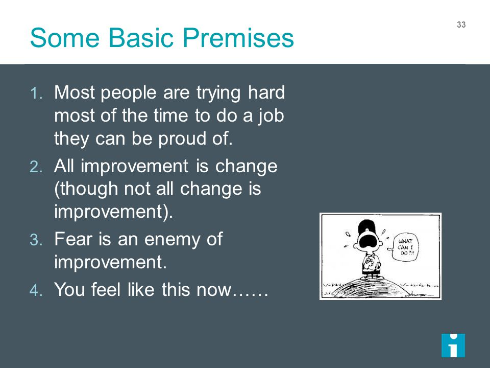 Some Basic Premises Most people are trying hard most of the time to do a job they can be proud of.