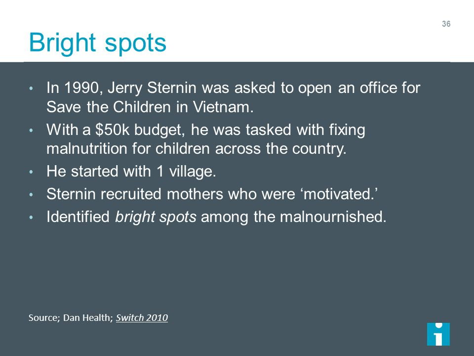 Bright spots In 1990, Jerry Sternin was asked to open an office for Save the Children in Vietnam.