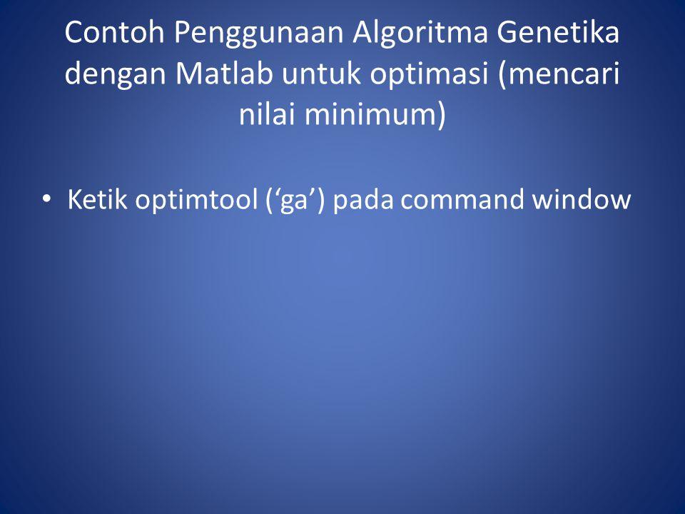 Contoh Penggunaan Algoritma Genetika dengan Matlab untuk optimasi (mencari nilai minimum)