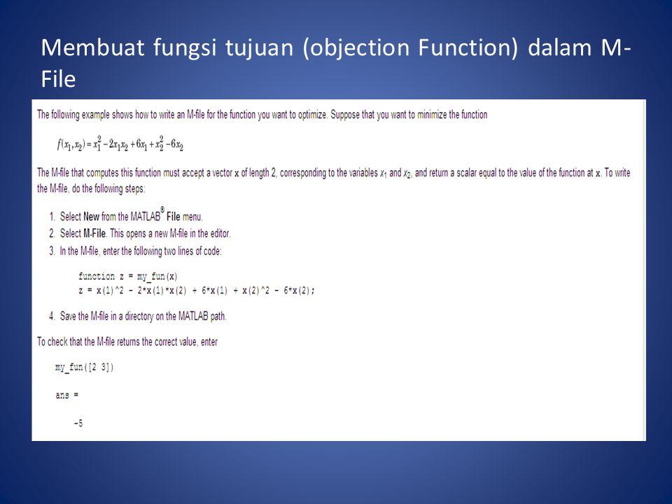 Membuat fungsi tujuan (objection Function) dalam M-File