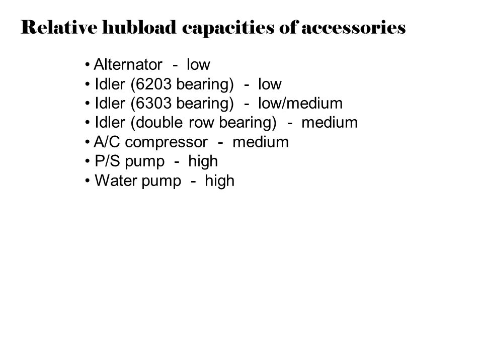 Relative hubload capacities of accessories