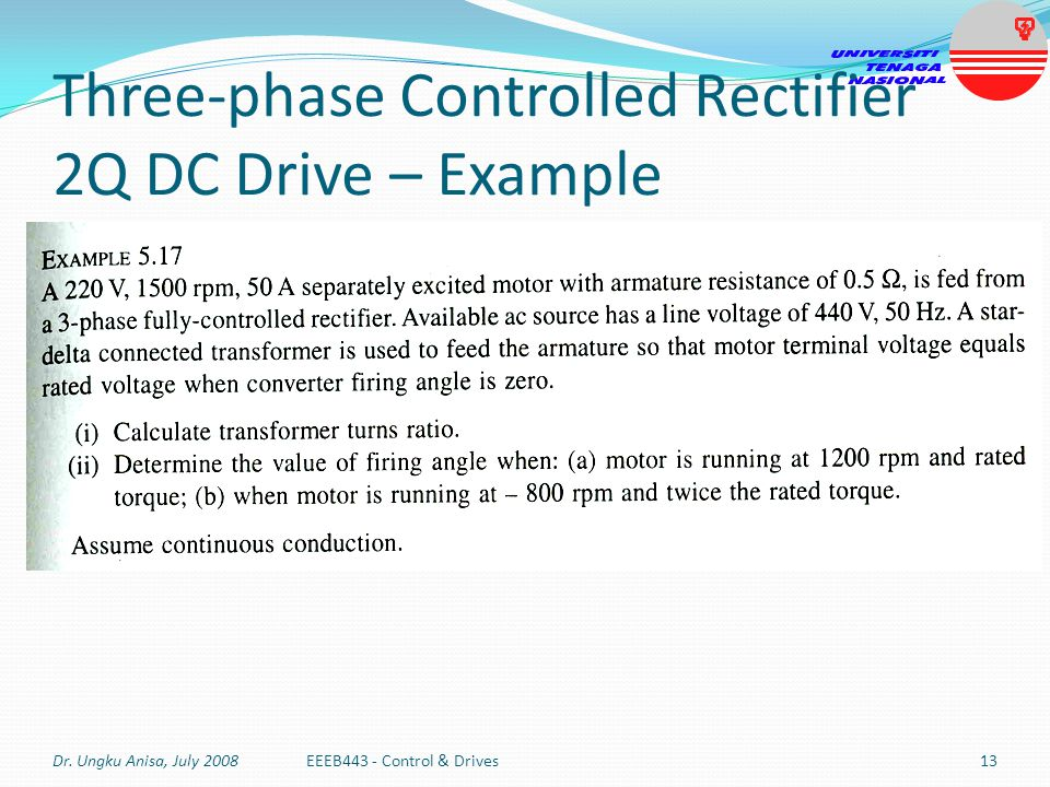Three-phase Controlled Rectifier 2Q DC Drive – Example