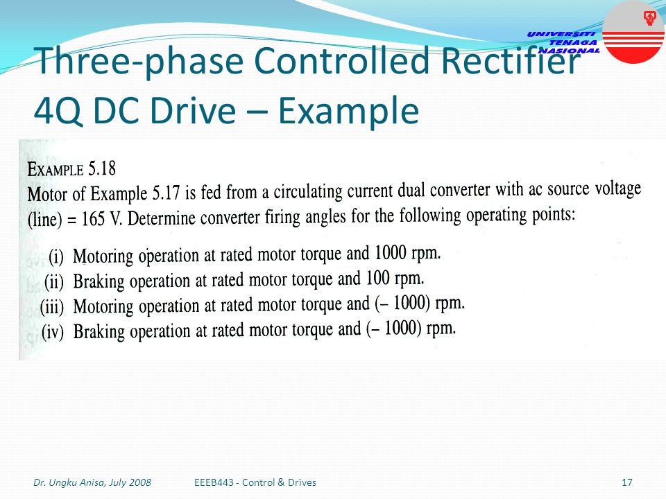 Three-phase Controlled Rectifier 4Q DC Drive – Example