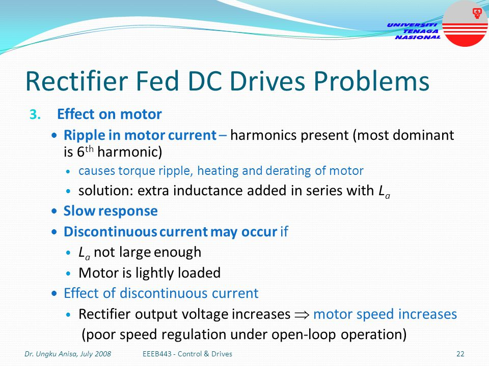 Rectifier Fed DC Drives Problems