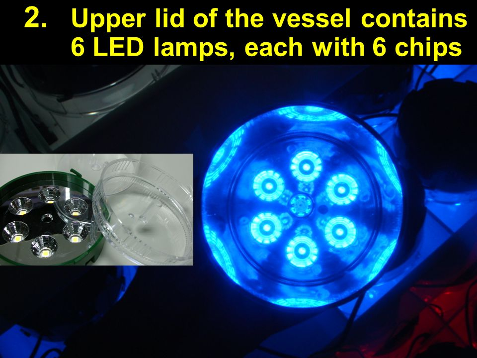 Upper lid of the vessel contains 6 LED lamps, each with 6 chips