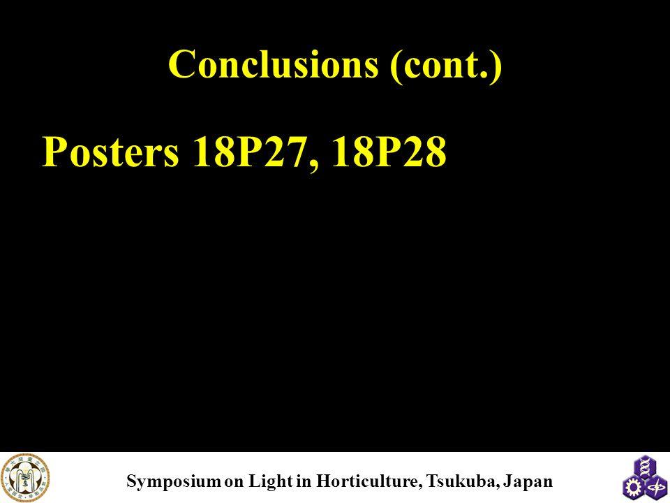 Conclusions (cont.) Posters 18P27, 18P28